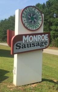 Monroe Sausage Sign in Beatrice, Alabama